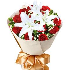 秘密花园-11支精品红玫瑰+百合
