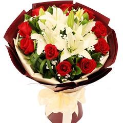 幸福洋溢-11支精品红玫瑰+百合