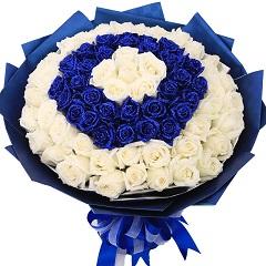 蓝色恋曲-99支精品混色玫瑰