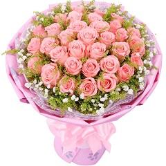 甜蜜约定-33支精品粉玫瑰