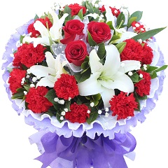 心灵的港湾-14支红色康乃馨+玫瑰+百合