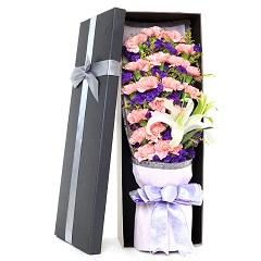 天使之祈-19支精品粉色康乃馨+百合