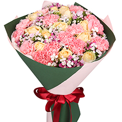 母亲的爱-14支精品粉色康乃馨+玫瑰