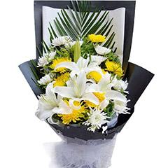 深切缅怀-19支精品混色菊花+百合