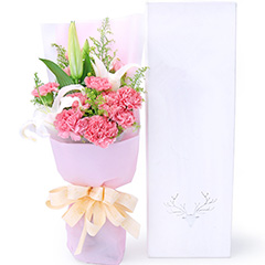 谢谢您的爱-11支粉色康乃馨+百合