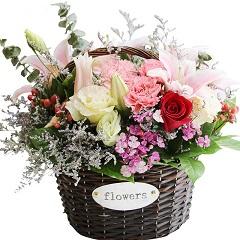 深深祝福你-9支粉色康乃馨+粉百合+玫瑰