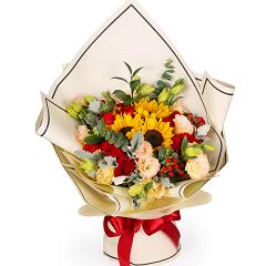 快乐崇拜-11支精品红玫瑰+向日葵