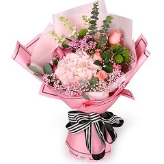因为爱情-9支精品混色玫瑰+绣球
