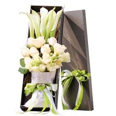 快乐一生-9支精品白玫瑰+5支马蹄莲