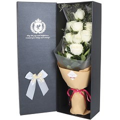 无忧无虑-9支精品白玫瑰
