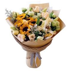 梵高印象-向日葵+百合+玫瑰混搭