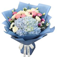 花仙子-13支精品混色玫瑰+绣球混搭