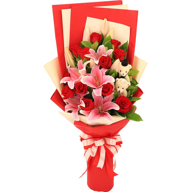美丽的她-12支红玫瑰+百合