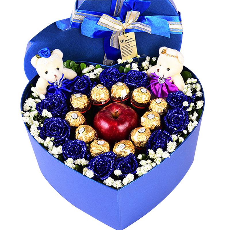 就是喜欢你-11支蓝色妖姬+11颗巧克力+1颗苹果