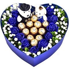 一心相盼-11支蓝色妖姬+11颗巧克力