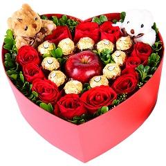 谢谢你陪我-11支红玫瑰+11颗巧克力+1颗苹果