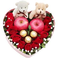 甜美公主-11支红玫瑰+3颗巧克力+2颗苹果