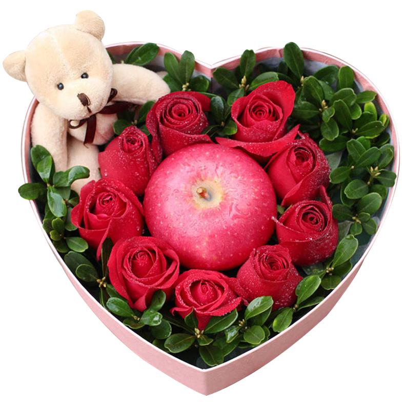 一世痴迷-9支精品红玫瑰+1颗苹果