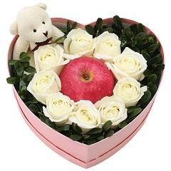 爱很简单-9支精品白玫瑰+1颗苹果