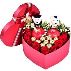 坚定的心-9支红玫瑰+9颗巧克力+2颗苹果