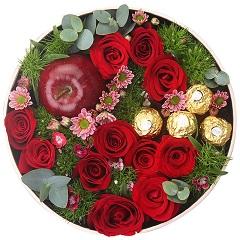 好想你-11支红玫瑰+4颗巧克力+1颗苹果