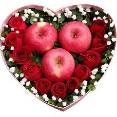爱得彻底-11支精品红玫瑰+3颗苹果