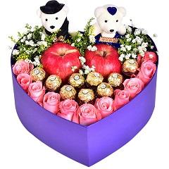 爱如氧气-11支粉玫瑰+9颗巧克力+2颗苹果