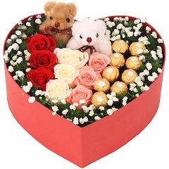 梦想缤纷-9支精品混色玫瑰+9颗巧克力