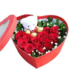 晴朗-11支精品红玫瑰+3颗巧克力