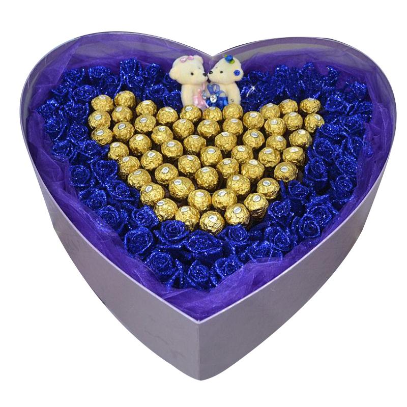 爱永恒不变-60支蓝色妖姬+58颗巧克力花盒