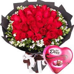 手牵手漫步-33支红玫瑰花束+巧克力组合