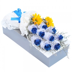 天使的微笑-9支精品蓝色妖姬+向日葵