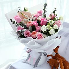 最特别的存在-11朵精品粉玫瑰混搭