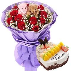 幸福的模样-11支红玫瑰+蛋糕组合