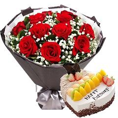 白首不分离-11支红玫瑰+蛋糕组合
