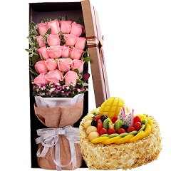 因为有你-19支粉玫瑰+8寸蛋糕组合