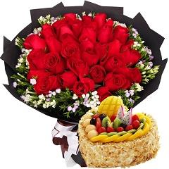 此生挚爱-33支红玫瑰+8寸蛋糕组合