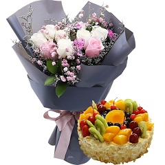 梦的自由-9支混色玫瑰+蛋糕组合