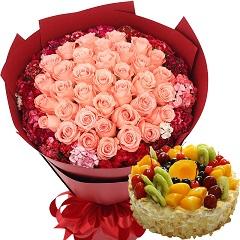 无限甜蜜-33朵粉玫瑰+8寸蛋糕组合