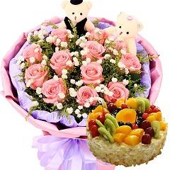 美好的祝愿-11支粉玫瑰+蛋糕组合