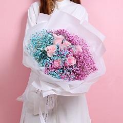 缘来是你-6朵粉玫瑰+彩色满天星混搭
