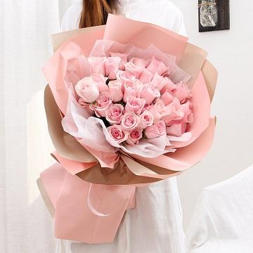 粉红浪漫-33支粉玫瑰