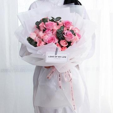 甜蜜时光-33支精品粉玫瑰