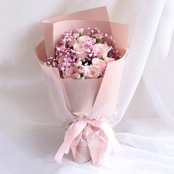 粉色心情-11支精品粉玫瑰