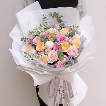 暖暖的-33支精品混色玫瑰