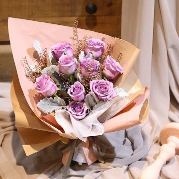 活力的一天-9支精品紫玫瑰