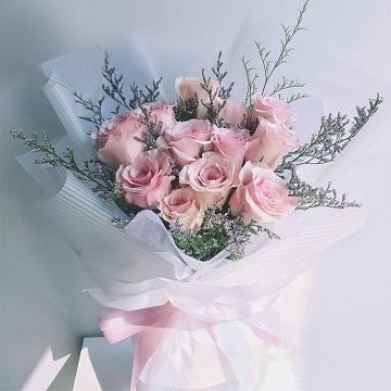 因为遇见你-11支精品粉玫瑰