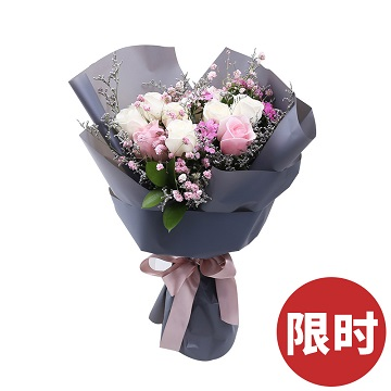 深情时光-7支白玫瑰+2支粉玫瑰