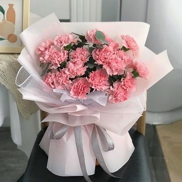 感恩母亲-19支精品粉色康乃馨